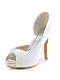 ElegantPark Women Pumps Peep Toe Platform Wedding Bridal Shoes