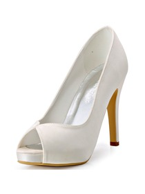 ElegantPark Peep Toe High Heel Platform Women Ivory Satin Wedding Bridal Shoes