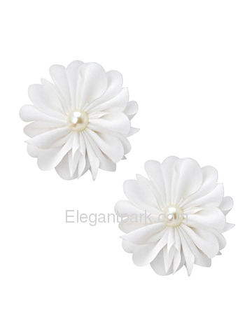 ElegantPark AI01 Women Wedding Accessories White Flowers Bridal Shoes Clips Two Pieces