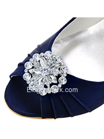 ElegantPark Women Peep Toe Wedge Heels Rhinestones Crystal AH01 Shoe Clips Evening Party Pumps (EP2009AH)