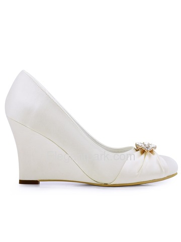 ElegantPark Women Closed Toe Ivory Wedge Heels Removable Gold Clips Wedding Bridal Shoes (EP2005AL)