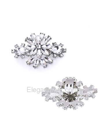 ElegantPark Women Dress Hat Handbag Rhinestones Flower Crystal Fashion Silver Clips
