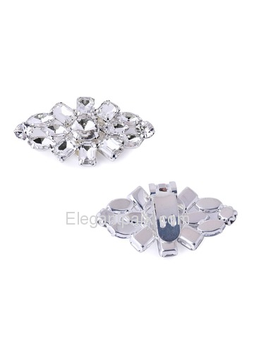 ElegantPark AL Silver Gold Hat Clutches Dress Shoes Diamond Accessories Fashion Clips 2 Pcs