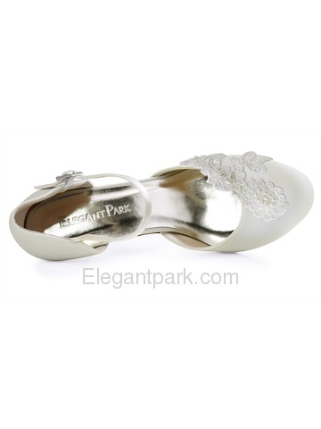 ElegantPark Closed Toe Applique Ivory Mid Heels Buckle Satin Wedding Bridal Shoes (HC1604)