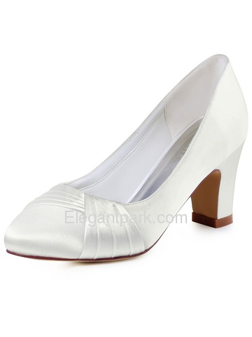 ElegantPark Women's Ivory Closed Toe Chunky Heel Satin Wedding Bridal Pumps Shoes (HC1608)