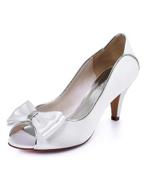 ElegnatPark Women's Peep Toe Ivory High Heels Bows Satin Wedding Bridal Pumps Shoes