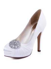 ElegantPark Women's Pumps White Ivory High Heels Platform Rhinestones Satin Wedding Bridal Shoes