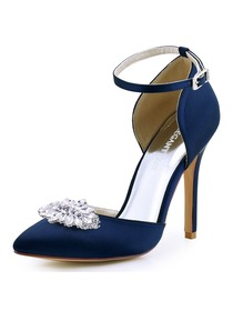 ElegantPark Women Pointed Toe Ankle strap High Heel Wedding Prom Dress Shoes Pumps