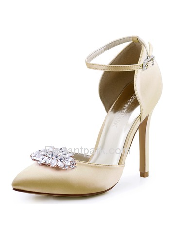 ElegantPark Women Pointed Toe Ankle strap High Heel Wedding Prom Dress Shoes Pumps (HC1602AW)