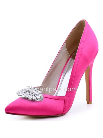 ElegantPark Women Pointed Toe High Heel V Cut Rhinstones Clips Light Pink Wedding Prom Dress Shoes (HC1603AW)