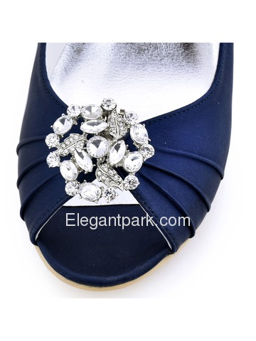ElegantPark White Ivory Peep Toe Wedges Heels Rhinestones Clips Women Wedding Brdial Shoes (EP2009AM)