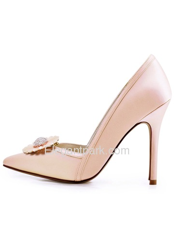 ElegantPark Women Pointed Toe High Heel V Cut Daisy Clips Light Pink Wedding Prom Dress Shoes (HC1603AN)