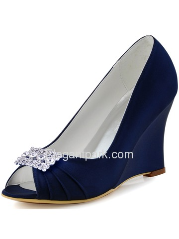 ElegantPark Navy Blue Peep Toe Wedges Heels Square Rhinestones Clips Women Wedding Brdial Shoes (EP2009AX)