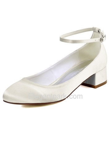 ElegantPark Women Closed Toe White Chunky Comfortable Heel Ankle Strap Satin Wedding Dress Shoes (FC1613)
