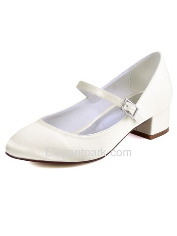 ElegantPark Women White Close Toe Chunky Mary Jane Pumps Satin Wedding Bridal Shoes (FC1614)