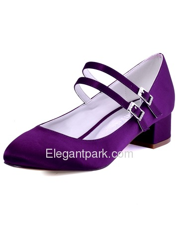 ElegantPark Women White Close Toe Chunky Mary Jane Two Belt Pumps Satin Wedding Bridal Shoes (FC1615)