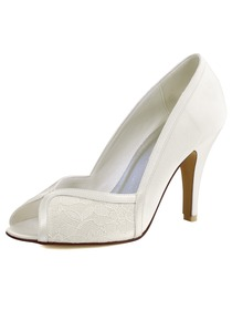 Woman White Ivory Peep Toe High Heel Satin Lace Pumps Wedding Evening Dress Bridal Shoes