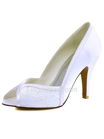 Woman White Ivory Peep Toe High Heel Satin Lace Pumps Wedding Evening Dress Bridal Shoes (HP1617)