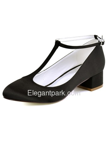 ElegantPark Women White Close Toe Chunky Heel T-Strap Pumps Satin Wedding Bridal Shoes (FC1616)