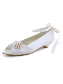 Elegantpark Ivory Peep Toe Low Heel Satin Pearls Wedding Evening Party Shoes