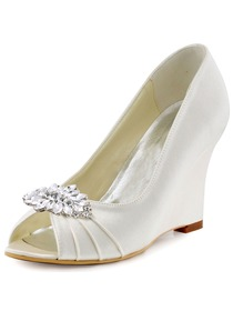 ElegantPark Ivory Peep Toe Wedges Heels Rhinestones Clips Women Wedding Brdial Shoes