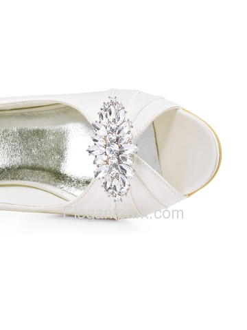 ElegantPark Ivory Peep Toe Wedges Heels Rhinestones Clips Women Wedding Brdial Shoes (EP2009AW)