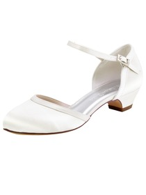 ElegantPark HC1621 White Ivory Closed Toe Chunky Heels Strap Buckle Satin Wedding Party Shoes