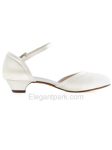 ElegantPark HC1621 White Ivory Closed Toe Chunky Heels Strap Buckle Satin Wedding Party Shoes (HC1621)