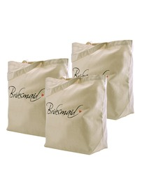 ElegantPark Bridesmaid Tote Bag Natural Canvas 100% Cotton 3 Packs