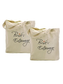 ElegantPark Bride`s Entourage Tote Bag Natural Canvas 100% Cotton 2 Packs