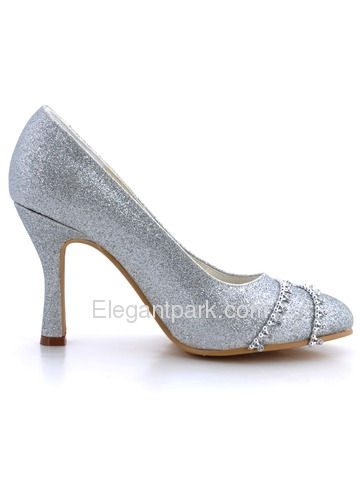 Elegantpark Silver Round Toe Stiletto Heel Glitter PU Wedding Bridal Prom Shoes (B129B)