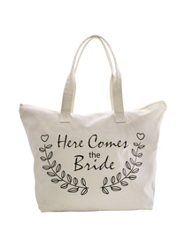 ElegantPark Here Comes The Bride Wedding Canvas Tote Bag Travel Zip Interior Pocket 100% Cotton