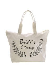 ElegantPark Bride's Entourage Wedding Canvas Tote Bag Travel Zip Interior Pocket 100% Cotton 1 Pack