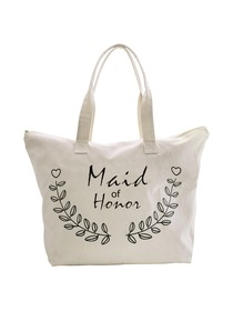 ElegantPark Maid of Honor Wedding Canvas Tote Bag Travel Zip Interior Pocket 100% Cotton