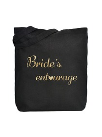 ElegantPark Bride's Entourage Tote Bag Black Canvas Gold Script 100% Cotton 1 Pack