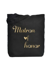 ElegantPark Matron of Honor Wedding Tote Bag Black Canvas Gold Script 100% Cotton