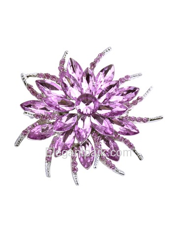 BP1705 Women Fashion Jewelry Beautiful Crystal Blooming Flower Brooch Pin