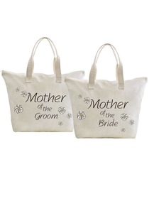 ElegantPark Mother of Bride And Groom Wedding Canvas Tote Bag Travel Daisy Zip Interior Pocket 100%