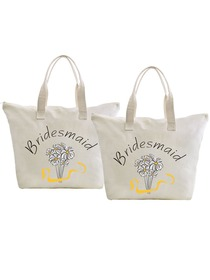 ElegantPark Bridesmaid Wedding Canvas Tote Bag Travel Daisy Zip Interior Pocket 100% Cotton 2 Packs