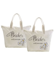 ElegantPark Bride's Entourage Wedding Canvas Tote Bag Travel Daisy Zip Interior Pocket 100% Cotton 2