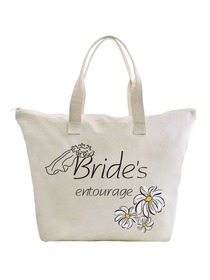 ElegantPark Bride's Entourage Wedding Canvas Tote Bag Travel Daisy Zip Interior Pocket 100% Cotton 1
