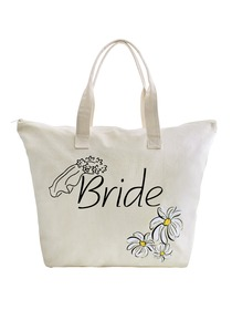 ElegantPark Bride Wedding Canvas Tote Bag Travel Daisy Zip 100% Cotton