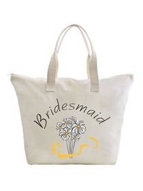 ElegantPark Bridesmaid Wedding Canvas Tote Bag Travel Daisy Zip Interior Pocket 100% Cotton 1 Pack
