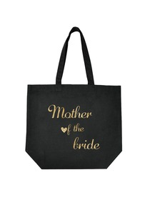 ElegantPark Mother of the Bride Tote Bag Wedding Gifts Black 100% Cotton with Gold Script
