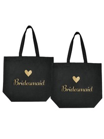 ElegantPark Bridesmaid Tote Bag for Wedding Gifts Black 100% Cotton with Gold Script 2 Pcs