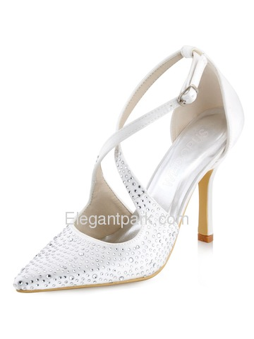 WEDOPUS HC1513 Women's Pointed Toe High Heel D'Orsay Strap Rhinestone Buckles Satin Pumps Shoes (HC1513)