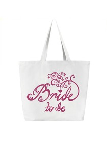 Bride to Be Tote Bag Wedding Bridal Shower Gift Canvas 100% Cotton White with Hot Pink Script