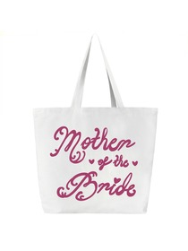 Mother of the Bride Tote Bag for Wedding Gifts Canvas 100% Cotton White Hot Pink Script