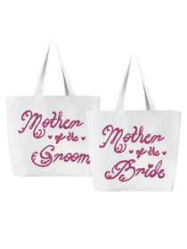Mother of the Bride + Groom Tote Bag for Wedding Gifts Canvas 100% Cotton White with Hot Pink Script