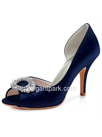 HC1710 Women D'orsay Slip on Peep Toe Higjh Heel Pumps Satin Evening Wedding Shoes (HP1710)